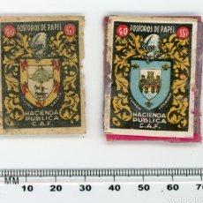 Etiquetas antiguas: CROMOS O TAPAS DE CAJAS DE FÓSFOROS DE PAPEL. ESCUDO VIZCAYA Y LOGROÑO. HACIENDA PÚBLICA. Lote 147266513