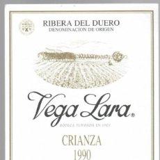 Etiquetas antiguas: VEGA LARA - CRIANZA 1990 - RIBERA DEL DUERO D.O. - BODEGAS PEÑALBA LOPEZ - ARANDA DE DUERO. Lote 148025870
