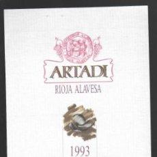 Etiquetas antiguas: ARTADI - RIOJA ALAVESA - 1993 - RIOJA DENOMINACIÓN DE ORIGEN CALIFICADA - LAGUARDIA (ÁLAVA). Lote 148147562