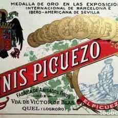 Etiquetas antiguas: ANIS PICUEZO. ANTIGUA ETIQUETA CON ESCUDO FRANQUISTA. FÁBRICA DE ANISADOS FINOS. QUEL. LOGROÑO. Lote 114778107