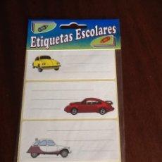 Etiquetas antiguas: ETIQUETAS ESCOLES ADHESIVAS COCHES 4 BLISTERS SIN ABRIR. Lote 149463524