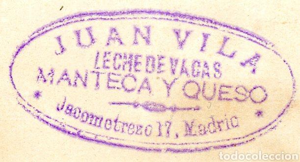 SELLO EN UN PAPEL. JUAN VILA, LECHE DE VACA MANTECA Y QUESO. JACOMETREZO 17 MADRID (Coleccionismo - Etiquetas)