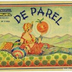Etichette antiche: ETIQUETA DE NARANJAS DE PAREL. Lote 248796870