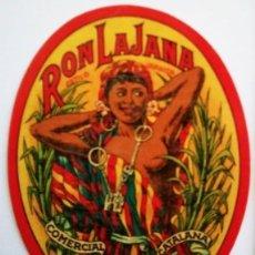 Etiquetas antiguas: ETIQUETA RON LAJANA ESTILO JAMAICA COMERCIAL LICORERA CATALANA MASNOU BARCELONA. Lote 119890947