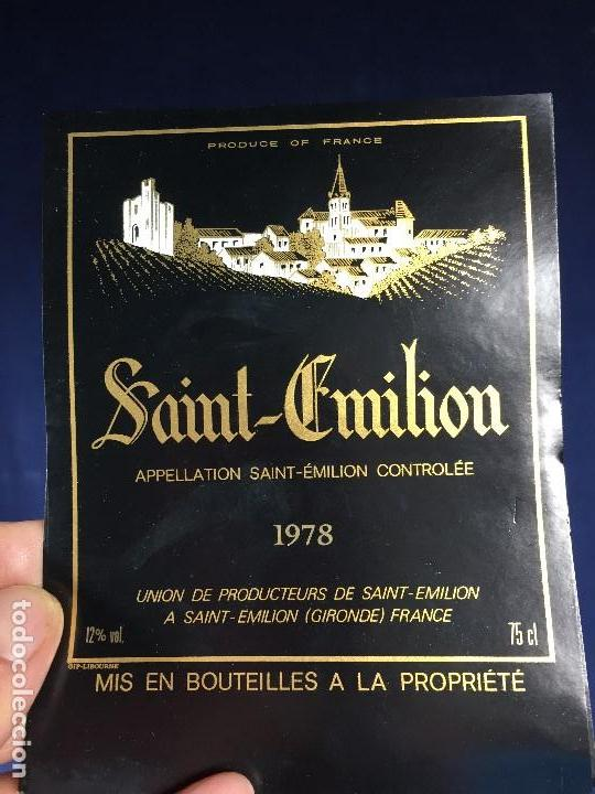 Etiquetas antiguas: 171 ETIQUETAS VINO SAINT EMILION BORDEAUX BURDEOS FRANCIA AÑOS 70 80 - Foto 3 - 150649822