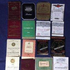 Etiquetas antiguas: 84 ETIQUETAS VINO BORDEAUX BURDEOS FRANCIA AÑOS 80 SIN AÑO 37,5 75CL. Lote 150653230
