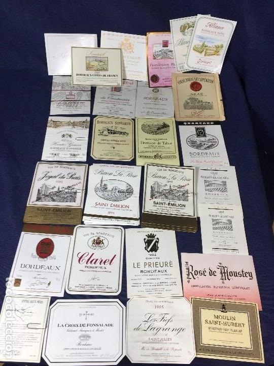84 ETIQUETAS VINO BORDEAUX BURDEOS FRANCIA AÑOS 80 SIN AÑO 37,5 75CL (Coleccionismo - Etiquetas)