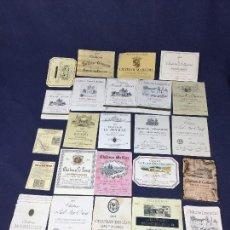 Etiquetas antiguas: 59 ETIQUETAS VINO BORDEAUX BURDEOS FRANCIA AÑOS 70 80 37,5 75 CL. Lote 150663146