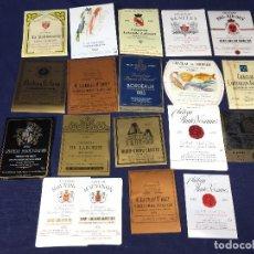 Etiquetas antiguas: 38 ETIQUETAS VINO BORDEAUX BURDEOS FRANCIA AÑOS 70 80 37,5 75 150CL. Lote 150664622