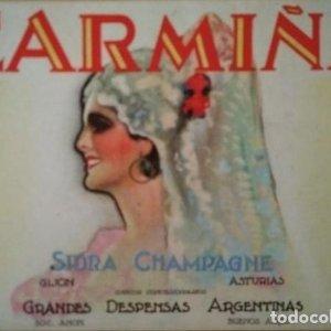 Etiqueta Carmiña Sidra Champagne Gijon Asturias