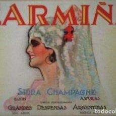 Etiquetas antiguas: ETIQUETA CARMIÑA SIDRA CHAMPAGNE GIJON ASTURIAS. Lote 115123891