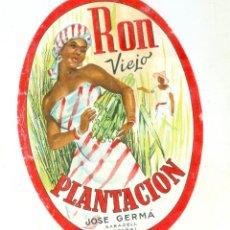 Etiquetas antiguas: RON VIEJO PLANTACIÓN JOSE GERMA SABADELL. ANTIGUA ETIQUETA. Lote 151914726