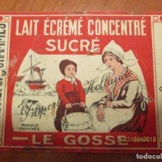 Etiquetas antiguas: LECHE CONDENSADA LE GOSSE. AÑO 1938. PREPARE EN HOLLANDE - ETIQUETA MUY ANTIGUA 7,5 X 22,5 CM.. Lote 152375134