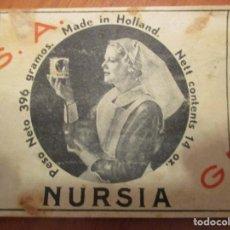 Etiquetas antiguas: LECHE CONDENSADA NURSIA. MADE IN HOLLAND - ETIQUETA MUY ANTIGUA 7,5 X 23 CM.. Lote 152375338