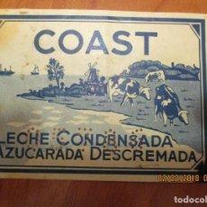 Etiquetas antiguas: LECHE CONDENSADA COAST. - ETIQUETA EXTRANJERA MUY ANTIGUA 7 X 22,5 CM. . Lote 152375550