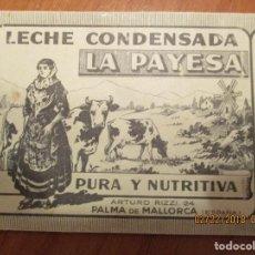 Etiquetas antiguas: LECHE CONDENSADA LA PAYESA (PALMA DE MALLORCA) ETIQUETA (COLOR NEGRO) MUY ANTIGUA 7 X 22,5 CM. . Lote 152375610