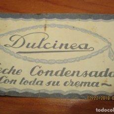 Etiquetas antiguas: LECHE CONDENSADA DULCINEA - PIELAGOS (SANTANDER) PRECIO AL PUBLICO 7 PTAS. ANTIGUA 7,5 X 21,5 CM. . Lote 152375942