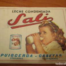 Etiquetas antiguas: LECHE CONDENSADA SALI - FABRICACION 1963 - REGISTRO SANIDAD Nº 207 - MUY. ANTIGUA 7,5 X 24,5 CM. . Lote 152376034