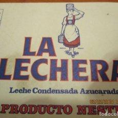 Etiquetas antiguas: LECHE CONDENSADA LA LECHERA , PRODUCTO NESTLE - ANTIGUA 7,5 X 22 CM.. Lote 152376178