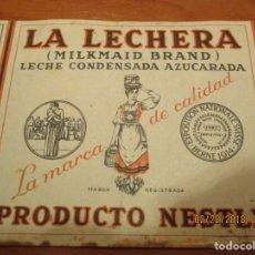 Etiquetas antiguas: LECHE CONDENSADA LA LECHERA , PRODUCTO NESTLE - REGISTRO SANIDAD Nº 16 - MUY ANTIGUA 7,5 X 22 CM.. Lote 152376206