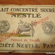 Etiquetas antiguas: LECHE CONDENSADA NESTLE - AÑO 1938 - SOCIETE NESTLE (PARIS) - ETIQUETA MUY ANTIGUA 7,5 X 22 CM.. Lote 152376242
