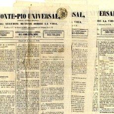 Etiquetas antiguas: ALICANTE SEGUROS CONJUNTO 3 FOLLETOS MONTEPÍO UNIVERSAL JUNIO Y JULIO 1.863. Lote 152412954