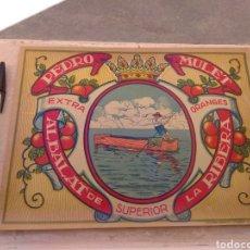 Etiquetas antiguas: ETIQUETA DE NARANJAS PEDRO MULET - ALBALAT DE LA RIBERA - VALENCIA - FIRMA A.CAROT -. Lote 152761002