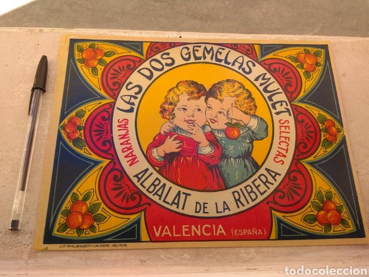 ETIQUETA DE NARANJAS LAS DOS GEMELAS MULET - ALBALAT DE LA RIBERA - VALENCIA - (Coleccionismo - Etiquetas)