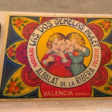 Etiquetas antiguas: ETIQUETA DE NARANJAS LAS DOS GEMELAS MULET - ALBALAT DE LA RIBERA - VALENCIA -. Lote 152761304
