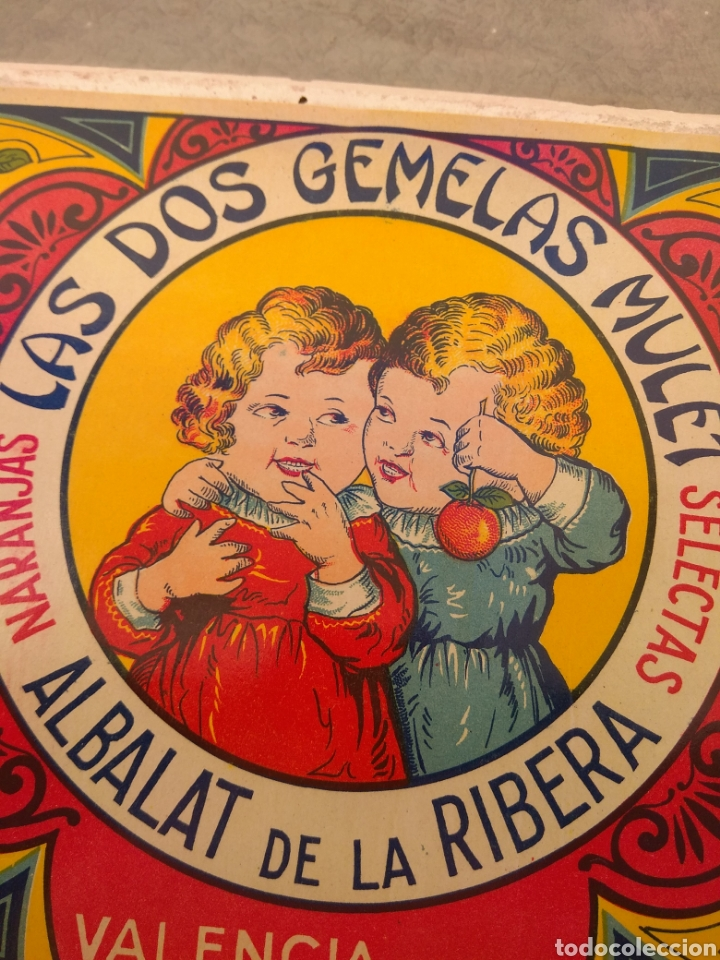 Etiquetas antiguas: Etiqueta de Naranjas Las Dos Gemelas Mulet - Albalat de la Ribera - Valencia - - Foto 4 - 152761304