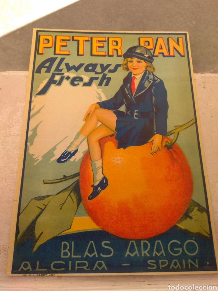 Etiquetas antiguas: Etiqueta de Naranjas Peter Pan Always Fresh - Blas Aragó - Alcira - Valencia - - Foto 2 - 152763488