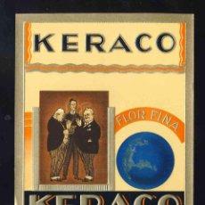 Etiquetas antiguas: ETIQUETA DE TABACO EN RELIEVE: KERACO. Lote 153023082