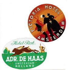 Etiquetas antiguas: 3 ETIQUETAS DE HOTELES HOLANDESES AÑOS 60 - 70. 3 HOLLAND HOTELS LABELS, FROM THE 60' S - 70'S.. Lote 36828093