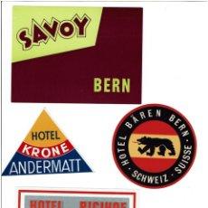 Etiquetas antiguas: 4 ETIQUETAS DE HOTELES SUIZOS AÑOS 60 - 70. 4 SWITZERLAND HOTELS LABELS, 60' S - 70'S YEARS.. Lote 36829964