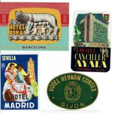 Etiquetas antiguas: 5 ETIQUETAS DE HOTELES ESPAÑOLES AÑOS 60 - 70. 5 SPANISH HOTELS LABELS, FROM THE 60' S - 70'S.. Lote 36839773