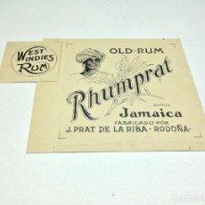 Etiquetas antiguas: DIBUJO ORIGINAL PARA ETIQUETA RHUMPRAT OLD RUM- J.PRAT DE LA RIBA - RODOÑA. Lote 154009726