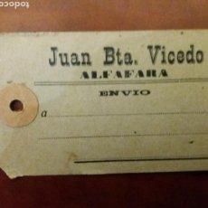 Etiquetas antiguas: ALFAFARA ALICANTE ETIQUETA ANTIGUA.. Lote 154337800