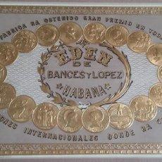 Etiquetas antiguas: HABILITACIÓN. ETIQUETA LITOGRÁFICA. FÁBRICA DE TABACOS EDÉN. LA HABANA. CUBA. CERCA 1900.. Lote 154655410