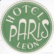 Etiquetas antiguas: ANTIGUA ETIQUETA DEL HOTEL PARIS DE LEON. Lote 154850466