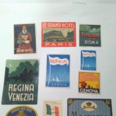 Etiquetas antiguas: ETIQUETAS DE HOTELES PARA MALETAS. 12 ETIQUETAS. S.XX. Lote 155760102