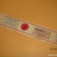 Etiquetas antiguas: ANTIGUA ETIQUETA DE LATA DE VENTRESCA DE BONITO DE ALKORTA S.A. EN GUETARIA - AÑO 1954. Lote 156396622
