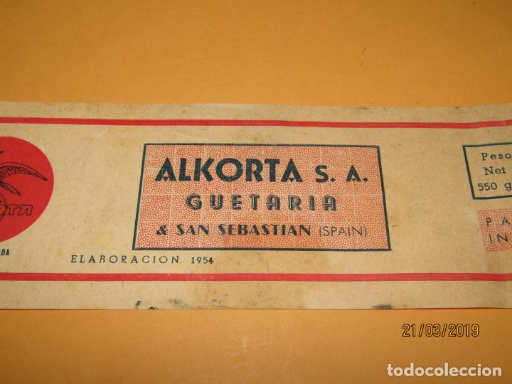 Etiquetas antiguas: Antigua Etiqueta de Lata de Ventresca de Bonito de ALKORTA S.A. en Guetaria - Año 1954 - Foto 2 - 156396622