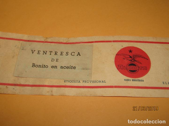 Etiquetas antiguas: Antigua Etiqueta de Lata de Ventresca de Bonito de ALKORTA S.A. en Guetaria - Año 1954 - Foto 3 - 156396622