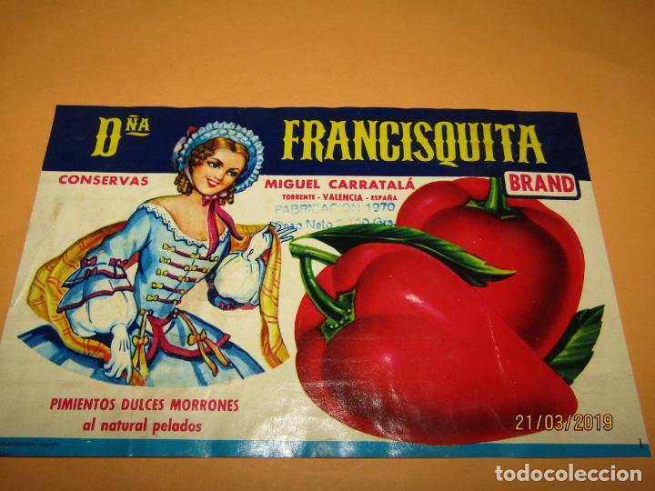 Etiquetas antiguas: Antigua Etiqueta de Bote de PIMIENTOS Dña FRANCISQUITA de MIGUEL CARRATALÁ en Torrente - Año 1970 - Foto 3 - 156398374