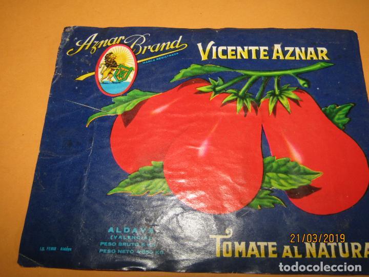 Etiquetas antiguas: Antigua Etiqueta de Bote de Tomate AZNAR BRAND de Vicente Aznar en Aldaya Valencia - Año 1970s. - Foto 2 - 156400202