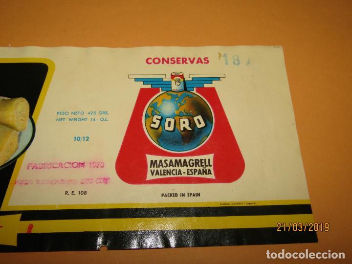 Etiquetas antiguas: Antigua Etiqueta de Bote de Alcachofas SORO en Masamagrell Valencia - Año 1970 - Foto 2 - 156406034