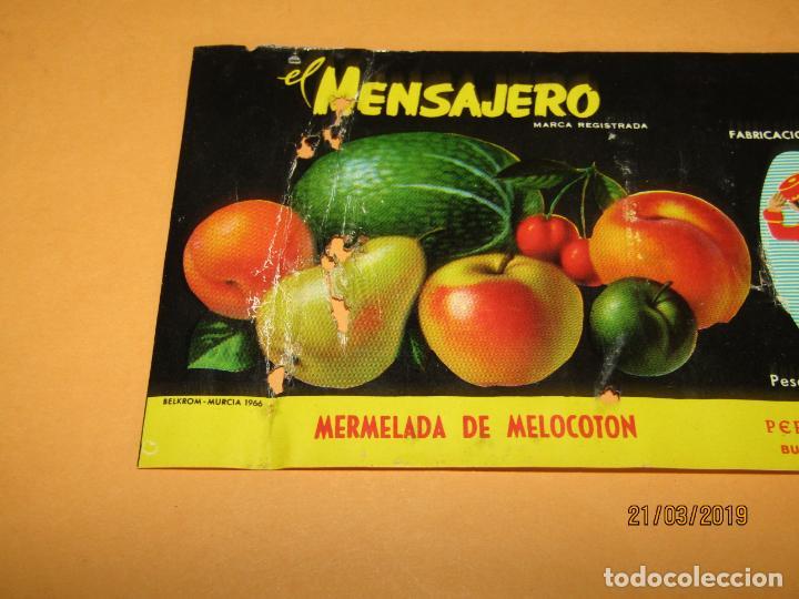 Etiquetas antiguas: Antigua Etiqueta de Bote de Mermelada de Melocotón EL MENSAJERO en Bullas MURCIA - Año 1966 - Foto 2 - 156409370