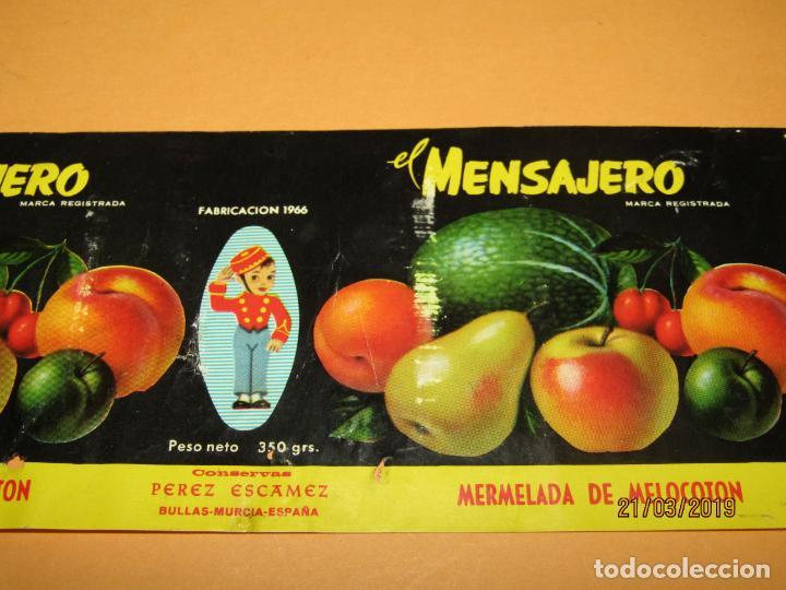 Etiquetas antiguas: Antigua Etiqueta de Bote de Mermelada de Melocotón EL MENSAJERO en Bullas MURCIA - Año 1966 - Foto 3 - 156409370