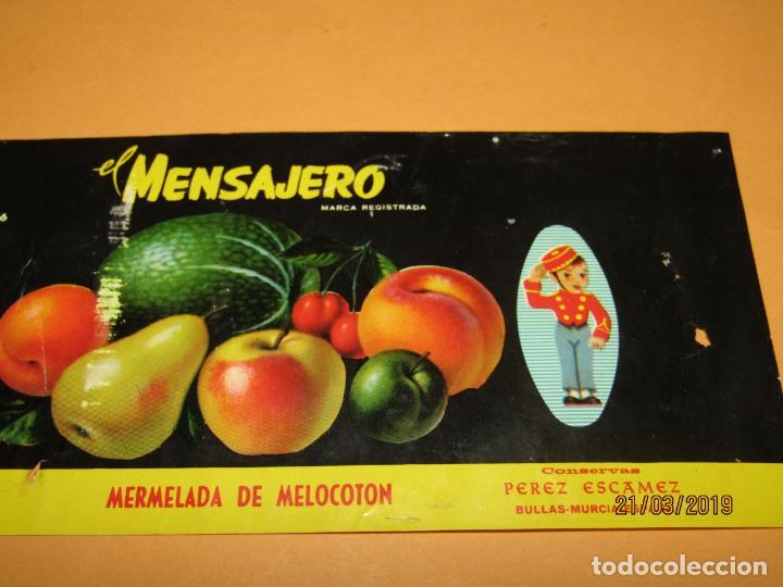 Etiquetas antiguas: Antigua Etiqueta de Bote de Mermelada de Melocotón EL MENSAJERO en Bullas MURCIA - Año 1966 - Foto 4 - 156409370