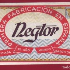 Etiquetas antiguas: ETIQUETA NEGTOR PRIMERA FABRICACIÓN EN ESPAÑA. Lote 156594886